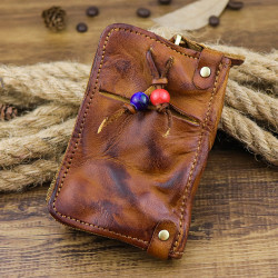 Men Genuine Leather Buckle Side Pull Pocket Key Bag Wallet
