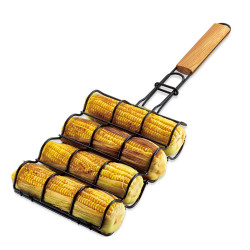 BOLEEFUN Non-Stick Corn Grilling Basket Metal Mesh Adjustable Maize Handle Grill Rack for Barbecue Tools