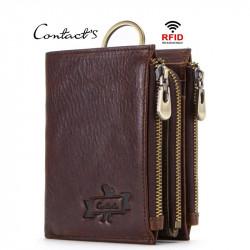 Men Anti-Theft RFID BlockingGenuine Leather Three Zipper Wallet