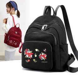 Women Nylon Waterproof Floral Casual Embroidered Backpack