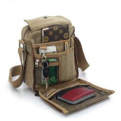 Multifuctional Large Capacity Retro Men Canvas Messenger Bag Shoulder Bag Sling Casual for Outdoor Sport Travel Hiking