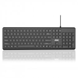 AOC KB100 Wired Chocolate Keyboard 106 Keys Waterproof USB Keyboard Home Office Keyboard for Laptop Computer PC