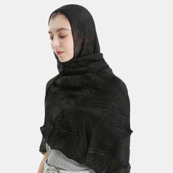 Polyester Solid Color Silk Ethnic Turban Hijab Women Scarf