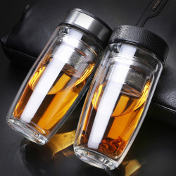 380ML Double Wall Glass Tea Tumbler Water Bottle with Filter Infuser Travel Mug