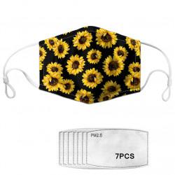 Dasiy Flower Print Face Mask 7-piece Gasket Set Daisy PM2.5 Masks