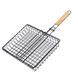 BOLEEFUN Barbecue Grill Basket with removable Handle for Grilling Hamburger Vegetables Fish Outdoor Campfire
