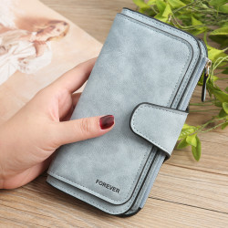 Women Trifold Dull Polish Faux Leather Long Wallet Card Holder Purse Clutches Bags