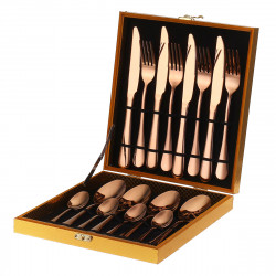 16PCS Cutlery Set Stainless Steel Rainbow Fork Spoon Kitchen Dinnerware Sets With Storage Box