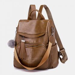 Women Anti-Theft Backpack Multifunctional Bag Tassel Zipper Bag
