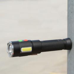 Xanes XML2-U2+COB 600Lumen 5Modes USB Rechargeable 128db Alarm Torch Outdoor Waterproof 18650 Flashlight Self-protection LED Flashlight with Magnet