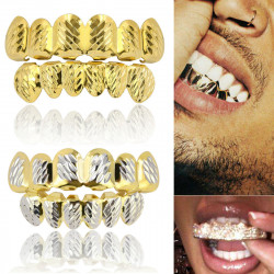 Custom Gold Sliver Plated Hip Hop Tooth Mouth Caps Top Bottom Grill Set Dental Tools